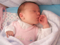 Baby sleeping. In a blue bed royalty free stock image