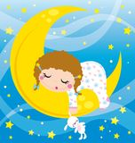 Baby sleeping. Illustration of baby girl sleeping on the moon Royalty Free Stock Images