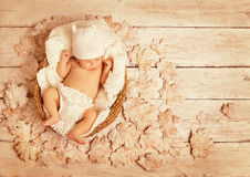 Baby Sleeping Autumn Wood, New Born Kid, Asleep Newborn Stock Photo