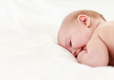 Baby sleeping in bed Stock Image