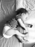 Baby sleeping black and white Stock Photos