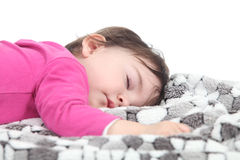 Baby sleeping on a blanket Stock Photos