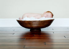 Baby Sleeping in Bowl Royalty Free Stock Photos