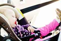 Baby sleeping in car Royalty Free Stock Photography