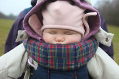 Baby sleeping in carrier Royalty Free Stock Photo