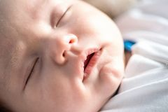 Baby sleeping, closeup Royalty Free Stock Images