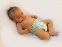 Baby sleeping without clothes Royalty Free Stock Photography