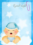 Baby sleeping on cloud Stock Images