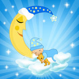 Baby sleeping on the cloud. royalty free illustration