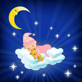 Baby sleeping on the cloud. Vector illustration Stock Photography