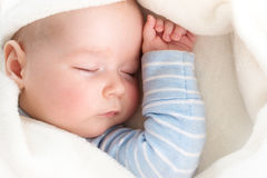 Baby sleeping covered with soft blanket Royalty Free Stock Image