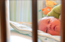 Baby sleeping in crib. Portrait of sleeping newborn baby girl viewed through bars of crib or cot Stock Photos