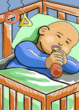 Baby sleeping in crib. A cartoon baby sleeping while drinking a milk in a crib Stock Photos