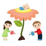 Baby sleeping on the flower. vector illustration