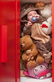 Baby sleeping with her teddy bear, new family and love concept Royalty Free Stock Photography