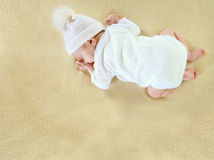 Baby sleeping on her tummy Royalty Free Stock Images