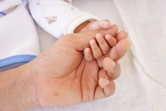 Baby sleeping and holding hand with father hand Royalty Free Stock Images