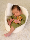 Baby sleeping in mini seat Stock Photography