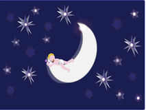 Baby sleeping on moon. Vector illustration Baby sleeping on moon Royalty Free Stock Image