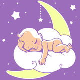 Baby sleeping on moon. Cute little baby sleeping on moon. Colorful vector illustration. Smiling cartoon kid lying on cloud as soft pillow. Child resting at night Stock Images