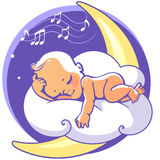 Baby sleeping on moon. Cute little baby sleeping on moon listen lullaby. Colorful vector illustration. Smiling cartoon kid lying on cloud as soft pillow. Child Stock Image