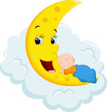 Baby Sleeping on Moon Royalty Free Stock Images