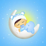 Baby sleeping on the moon. Illustration of baby sleeping on the moon Royalty Free Stock Images