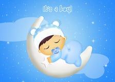 Baby sleeping on the moon Stock Photo