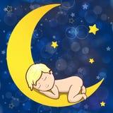 Baby sleeping on the moon. Stock Photos