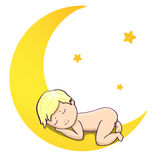 Baby sleeping on the moon. Illustration for poster, print and web projects Stock Photo