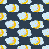 Baby sleeping on the moon seamless pattern. On the blue background. Vector illustration Royalty Free Stock Photos