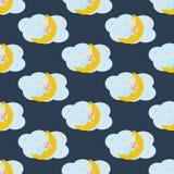 Baby sleeping on the moon seamless pattern Royalty Free Stock Photos