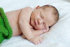 Baby sleeping. Newborn, kid art. Beauty child, boy or girl sleep Stock Photo