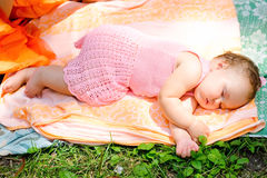 Baby sleeping in the open air Royalty Free Stock Images