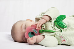 Baby sleeping with pacifier Royalty Free Stock Photo