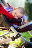 Baby sleeping peacefully outdoors Royalty Free Stock Photos