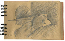 Baby sleeping- sketchbook. A baby is sleeping in his bed, the shadow of his mum is taking care of him. Sketch on a notepad stock illustration