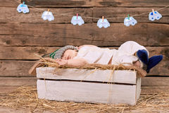 Baby sleeping on straw. Royalty Free Stock Images