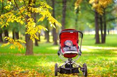 Baby sleeping in stroller in park Royalty Free Stock Photography