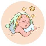 The baby sleeping sweetly Stock Images