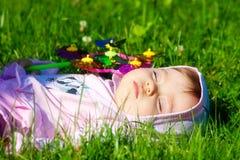 Baby sleeps stock photo