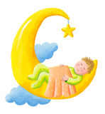 Baby sleeps on the moon Royalty Free Stock Photos