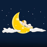 Baby sleeps on a moon. Vector illustration Stock Photo