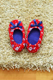 Baby slippers. Baby girl's shoes on the carpet Royalty Free Stock Photos