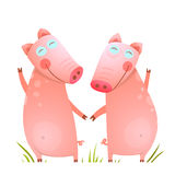 Baby Small Pigs Cute Friends Playing on Grass Stock Images