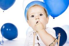 Baby smashing cake Stock Image