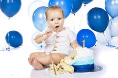 Baby smashing cake stock images