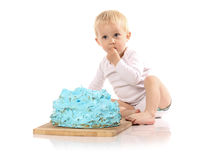 Baby smashing cake Royalty Free Stock Images