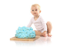 Baby smashing cake Stock Photography