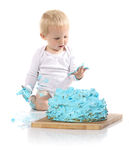 Baby smashing cake Royalty Free Stock Photography